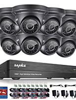 SANNCE® 8CH CCTV Security System Onvif 1080P AHD/TVI/CVI/CVBS/IP 5-in-1 DVR with 8*2.0MP Waterproof Cameras No HDD