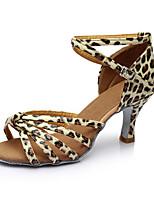 Women's Latin Leatherette Sandals Indoor Customized Heel Leopard Customizable