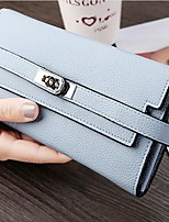 Women Checkbook Wallet PU All Seasons Casual Square Twist Lock Blushing Pink Azure Black