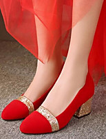 Women's Shoes Nubuck leather PU Spring Comfort Heels For Casual Gold Silver Red