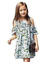 Girl's Print Dress,Cotton Summer Short Sleeve