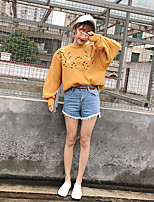 Women's Daily Sweatshirt Embroidery Round Neck Micro-elastic Cotton Long Sleeve Spring