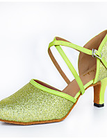 Women's Latin Sparkling Glitter Silk Heels Indoor Buckle Green 2