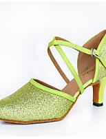 Women's Latin Sparkling Glitter Silk Heels Indoor Buckle Green 2