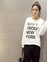 Women's Casual Sweatshirt Solid Round Neck Inelastic Cotton Blend Long Sleeve Fall
