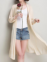 Women's Casual/Daily Long Cardigan,Solid Striped V Neck Long Sleeve Cotton Fall Medium Micro-elastic