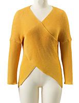 Normal Pullover Femme Sortie Décontracté / Quotidien simple Chic de Rue,Couleur Pleine Col en V Manches Longues Laine Printemps Hiver