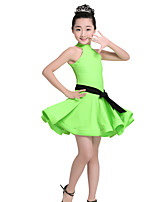 Latin Dance Dresses Women's Performance Nylon Belt 2 Pieces Sleeveless High Dresses Belt