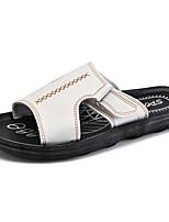 Men's Slippers & Flip-Flops Comfort Leatherette Summer Casual White Black Brown Flat