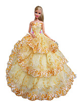 Party/Evening Dresses For Barbie Doll Gold Yellow Dress For Girl's Doll Toy