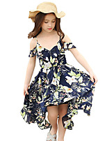 Girl's Floral / Botanical Dress,Polyester Chiffon Summer Short Sleeve