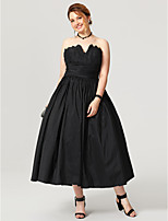 Ball Gown Notched Tea Length Taffeta Formal Evening Dress with Sash / Ribbon Ruching Pleats Tiered by TS Couture®
