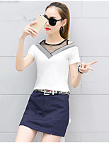 Women's Casual/Daily Casual Summer T-shirt Skirt Suits,Solid Patchwork V Neck Short Sleeve Micro-elastic
