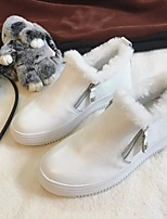 Women's Boots Comfort Cowhide Spring Casual White Black Flat