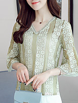 Women's Casual Simple Blouse,Solid V Neck Half Sleeve Cotton