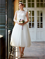 Princess Bateau Tea Length Lace Tulle Wedding Dress with Buttons Sashes/ Ribbons by LAN TING BRIDE®