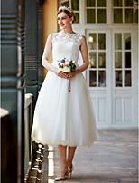 2017 LAN TING BRIDE Princess Wedding Dress - Little White Dress Beautiful Back Tea Length Bateau Lace Tulle withButtons