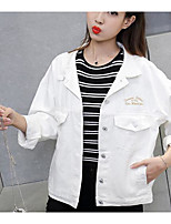 Women's Daily Modern/Comtemporary Spring Denim Jacket,Print Letter Shirt Collar Long Sleeve Regular Cotton Others