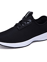 Men's Sneakers Comfort Spring Fall Tulle Outdoor Lace-up Flat Heel White Black Dark Blue Under 1in