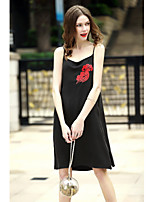 REVIENNE BAY Women's Plus Size Holiday Going out Casual/Daily Sheath DressEmbroidered Round Neck Above Knee Sleeveless Others Spring Summer Mid Rise
