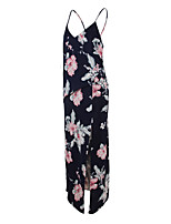 ANGELL Women's Going out Casual/Daily Street chic A Line DressFloral V Neck Maxi Sleeveless Polyester Spring Summer High Rise Inelastic Thin