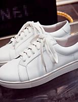 Для женщин Кеды Удобная обувь Полиуретан Лето Повседневные Белый Черный На плоской подошве