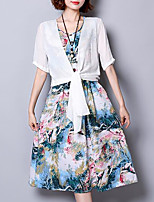 Women's Plus Size Going out Simple Loose Dress,Print Round Neck Knee-length Short Sleeve Cotton Summer Mid Rise Inelastic Medium
