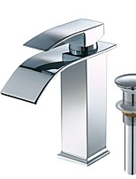Contemporary Centerset Waterfall Widespread with  Ceramic Valve Single Handle One Hole for  Chrome , Bathroom Sink Faucet