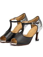 Women's Latin Faux Leather Sandals Performance Sparkling Glitter Stiletto Heel Dark Red Black 3