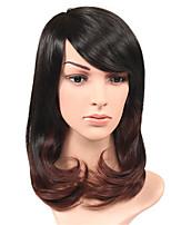 Perruques naturelles Synthétique Sans bonnet Perruques Moyen Noir / Medium Auburn Cheveux