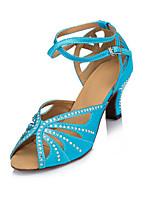 Femme Modernes Satin Talons Intérieur Strass Talon Bottier Bleu 5,1 à 7cm Personnalisables