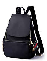Women Backpack Nylon All Seasons Casual Traveling Round Zipper Black