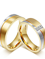 2PCS Couple's Rings Fashion Simple Elegant AAA Cubic Zirconia Titanium Steel Ring Jewelry For Wedding Anniversary Party Daily
