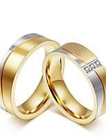 Couple Couple de Bagues Zircon cubique Simple Style Elegant Mode Zircon Acier au titane Forme Ronde Bijoux PourMariage Soirée Fiançailles