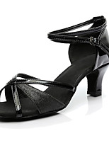 Women's Latin Silk Heels Performance Cuban Heel Black 1