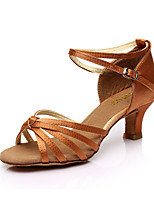 Yes Women's Latin Silk Sandals Indoor Cuban Heel Brown Beige Black