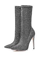 Для женщин Ботинки Модная обувь Эластичный сатин Осень Зима Повседневные Для вечеринки / ужина Для праздника Модная обувь На шпильке