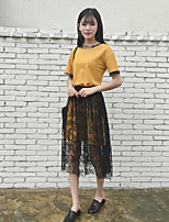 Women's Daily Casual Casual Spring Summer T-shirt Skirt Suits,Solid Color Block Round Neck Short Sleeve Lace Micro-elastic