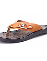 Men's Slippers & Flip-Flops Light Soles PU Summer Casual Water Shoes Light Soles Flat Heel Dark Brown Light Brown Flat
