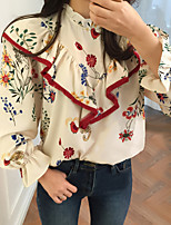 Women's Graduation Daily Casual Sexy Cute Street chic Spring Summer Blouse,Solid Floral Embroidered Stand Long SleevePolyester Stretch