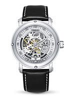 Per uomo Orologio alla moda orologio meccanico Carica automatica Vera pelle Banda Nero Marrone