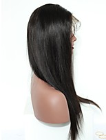 120% Density Lace Front Human Hair Wigs Silky Straight Non-remy Hair Natural Black Color Medium Cap Size