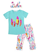 Girls' Print SetsCotton Spring/Fall Summer Short Sleeve Clothing Set Feather T Shirt Pants with Headband 3pcs Outfits