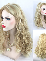 Cheap Blonde Mixed Color Curly Wig for European Women Fashion Ladies's Hair Heat Resistant Middle Length Middle Parting Sexy Club Night Party Wig