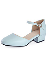 Women's Heels Basic Pump Summer PU Wedding Dress Party & Evening Office & Career Buckle Chunky Heel White Purple Blue Blushing Pink Under