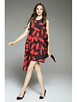 Для женщин На выход На каждый день Простое Свободный силуэт Платье С принтом Контрастных цветов,Круглый вырез Средней длины Без рукавов