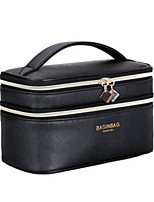 Women Cosmetic Bag PU All Seasons Casual Baguette Zipper Black White