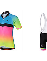 Cycling Jersey with Bib Shorts Ladies' Female Short Sleeve Bike Clothing SuitsCycling Coloured gloss Breathable High Elasticity Wicking