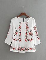 T-shirt Da donna Per uscire Casual Sensuale Semplice Moda città Estate,Ricamato Rotonda Cotone Manica a 3/4 Sottile Medio spessore
