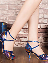 Women's Dance Sneakers Real Leather PU Sandals Sneakers Outdoor Chunky Heel Blue Silver Gold 2